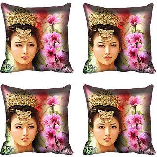 meSleep Multi Floral Girl Digitally Printed Cushion Cover (20x20)
