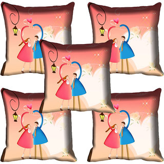 meSleep Couple Digital printed Cushion Cover (18x18)