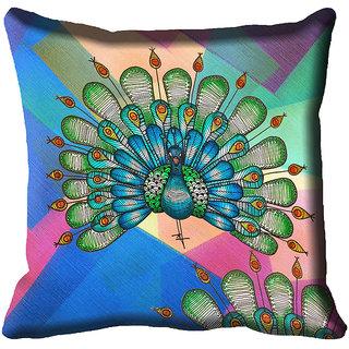 meSleep Peacock Digital Printed Cushion Cover (18x18)