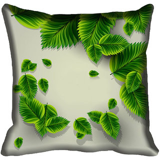 meSleep Green Leaf Digital Printed Cushion Cover 18x18