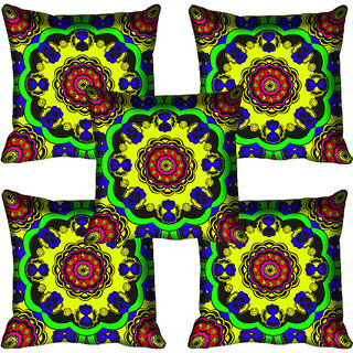 meSleep Circle Ethnic Design Digital Printed Cushion Cover 20x20