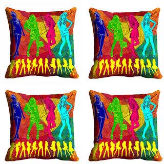 meSleep Multi Color Girl Cushion Cover (20x20)
