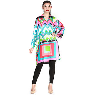 Fashions Clouds Multicolor Printed Rayon Stitched  Kurti