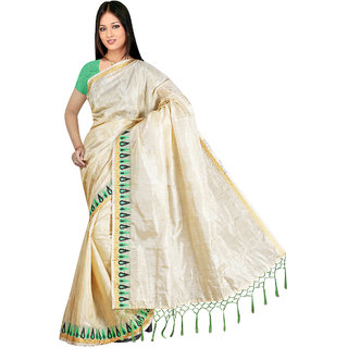 Indian Fashionista White Silk Plain Saree With Blouse