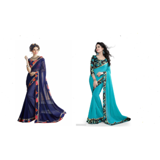 Indian Fashionista Multicolor Chiffon Embroidered Saree With Blouse
