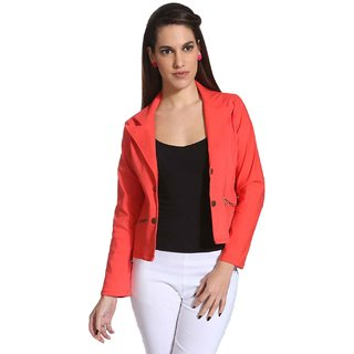 Raabta Fashion Peach Cotton Lycra Blazers For Women