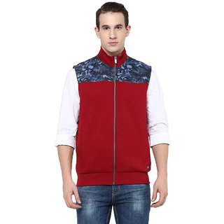 OCTAVE Red High Neck Sleeveless Sweatshirt for Men's