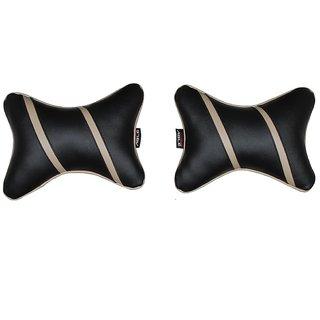 Able Classic Cross Neckrest Neck Cushion Neck Pillow Black and Beige For MARUTI ALTO LX/K10 Set of 2 Pcs