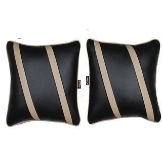 Able Classic Cross Cushion Seat Cushion Cushion Pillow Black and Beige For MARUTI ALTO 8OO Set of 2 Pcs