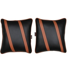 Able Classic Cross Cushion Seat Cushion Cushion Pillow Black and Tan For RENAULT KWID Set of 2 Pcs