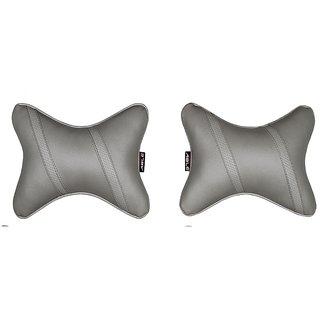 Able Classic Cross Neckrest Neck Cushion Neck Pillow I-Grey For MAHINDRA REVA REVA E20 Set of 2 Pcs