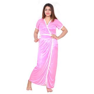 Buy Be You Fashion Women Satin Light Pink Plain 2 piece Nighty Set ... fcc8bcf50