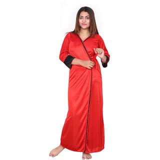Be You Fashion Women Satin Red-Black Plain 2 piece Nighty Set