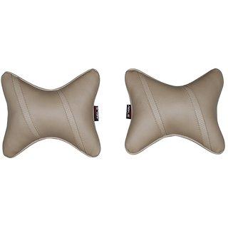 Able Classic Cross Neckrest Neck Cushion Neck Pillow Beige For ASHOK LEYLAND STILE Set of 2 Pcs