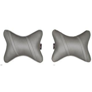 Able Classic Cross Neckrest Neck Cushion Neck Pillow I-Grey For MARUTI OMNI Set of 2 Pcs