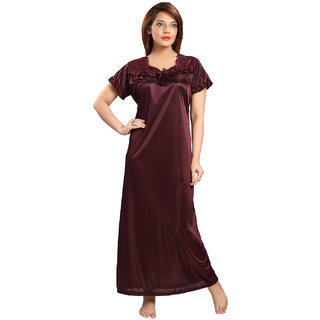 37173a3de8 Buy Be You Fashion Women Serena Satin Wine color Lace Night Gown Online -  Get 42% Off