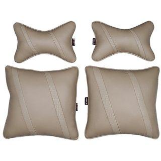 Able Classic Cross Kit Seat Cushion Neckrest Pillow Beige For SKODA FABIA Set of 4 Pcs