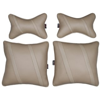 Able Classic Cross Kit Seat Cushion Neckrest Pillow Beige For MARUTI WAGONR  NEW Set of 4 Pcs