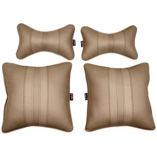 Able Sporty Kit Seat Cushion Neckrest Pillow I-Grey For MAHINDRA BOLERO Set of 4 Pcs