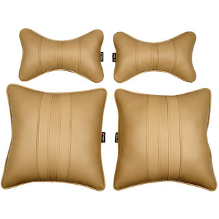 Able Sporty Kit Seat Cushion Neckrest Pillow Beige For MARUTI SX4 Set of 4 Pcs