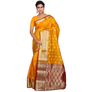 Milonee Indigo Self Design Silk Saree With Blouse