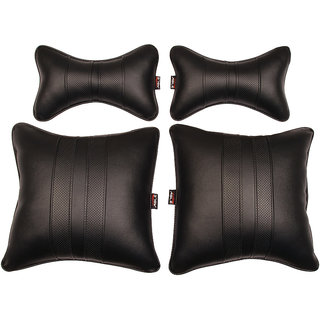 Able Sporty Kit Seat Cushion Neckrest Pillow Black For MAHINDRA KUV 100 Set of 4 Pcs