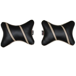 Able Sporty Neckrest Neck Cushion Neck Pillow Black and Beige For VOLKSWAGEN VENTO Set of 2 Pcs