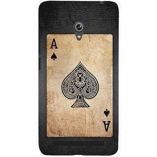 Snapdilla Black  White Vintage Ace Kalavar Spade Playing Deck Card Back Cover For Asus Zenfone 6 A600CG