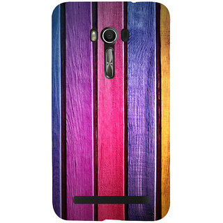 Snapdilla Artistic Colourful Wood Block Stripes Pattern Classic Branded Back Cover For Asus Zenfone Go ZC500TG