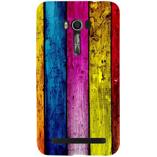 Snapdilla Artistic Rugged Colourful Wood Bar Stripes Pattern 3D Print Cover For Asus Zenfone Go ZC500TG