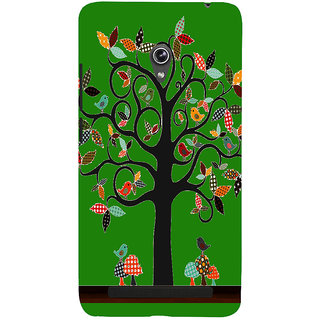 Snapdilla Green Color Background Artistic Clipart Good Looking Tree With Birds Cell Cover For Asus Zenfone 6 A600CG