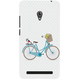 Snapdilla White Color Background Lady Bird Bicycle Flower Bouquet Girly Smartphone Case For Asus Zenfone 6 A600CG