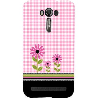 Snapdilla Pink Background Checks Pattern Cute Pink Flowers Artistic Smartphone Case For Asus Zenfone 2 Laser ZE601KL
