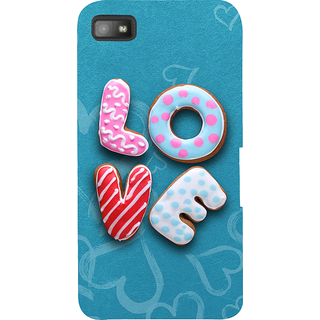 Snapdilla Blue Background Chocolate Donut Cartoon Love Quote Unique Back Cover For BlackBerry Z10