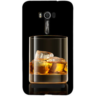 Snapdilla Black Background Whisky Scotch Glass With Ice Cubes Alchoholic 3D Print Cover For Asus Zenfone Go ZC500TG