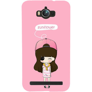 Snapdilla Artistic Animated Sunflower Cartoon Girl Doodle Pink Background Phone Case For Asus Zenfone Max ZC550KL :: Asus Zenfone Max ZC550KL 2016 :: Asus Zenfone Max ZC550KL 6A076IN
