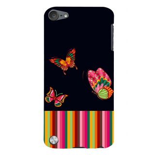 Snapdilla Multi Color Stripes Awesome Colorful Butterflies Trendy Fashion Cell Cover For Apple IPod Touch 5
