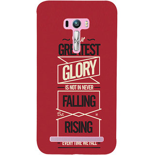 Snapdilla Red Background Our Greatest Glory Is In Rising Every Time We Fall Motivational Quote Mobile Pouch For Asus Zenfone Selfie ZD551KL