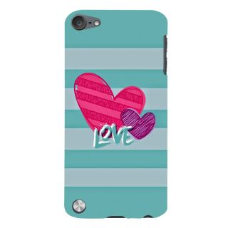 Snapdilla Artistic Stripes Pattern Love Quote Pink Hearts Designer Case For Apple IPod Touch 5