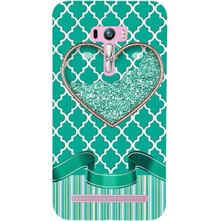 Snapdilla Unique Pearls Sparkling Diamond Heart Shaped Green Color Cute Phone Case For Asus Zenfone Selfie ZD551KL