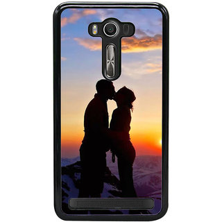 Fuson Designer Back Cover For Asus Zenfone 2 Laser ZE550KL (5.5 Inches) (Snow Mountains Cloudy Sky Sunset Snow Orange Sky)