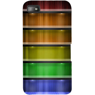 Snapdilla Colorful Rainbow Pattern Wood Texture Hd Print Cute Mobile Cover For BlackBerry Z10