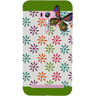 Snapdilla Multi Colored Flower Pattern White Background Green Color Mobile Cover For Asus Zenfone Selfie ZD551KL