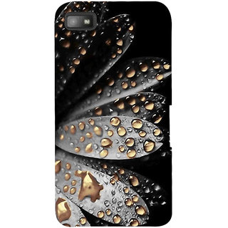 Snapdilla Black Background Attractive Artistic Floral Golden Water Flower Drops Mobile Case For BlackBerry Z10