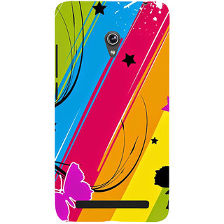 Snapdilla Unique Artistic Modern Art Multi Coloured Background  Stripes Butterfly Smartphone Case For Asus Zenfone 5