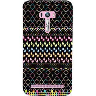 Snapdilla Black Background Good Looking Multi Coloured Droplets Unique Rangoli Mobile Cover For Asus Zenfone Selfie ZD551KL