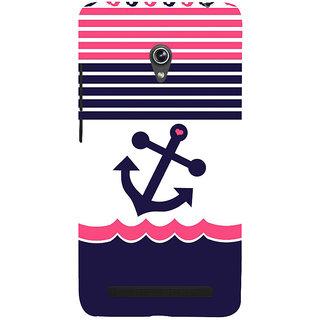 Snapdilla Blue  Pink Color Stripes Anchor Heart Funky Cool Designer Case For Asus Zenfone 5