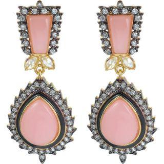 The Jewelbox Pink Stone American Diamond Earring