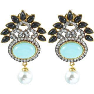 The Jewelbox Black Turquouse American Diamond Earring