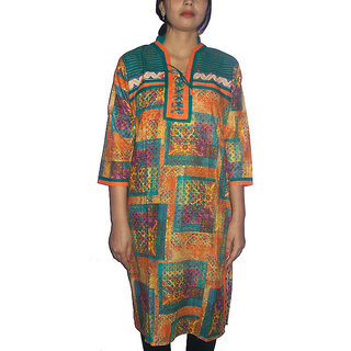 Gayitri Fashion Women's Cotton kurta (GFWSK026-Multi Colour-Large)
